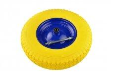 Poliuretaninis geltonas ratas 4.00-8 mėlynu disku ir ašimi G71023