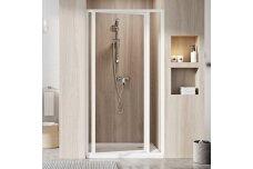 Dušo durys SUPERNOVA SDOP-90 balta+stiklas Transparent