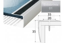 Profilis Effector A43 laiptams, su 2 cm neslidžia juosta